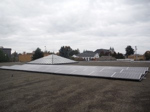 The completed solar installation on the roof of the Olympia Timberland Library.